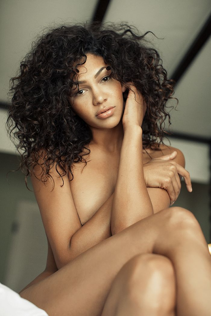Sexy mixed girl curly hair naked